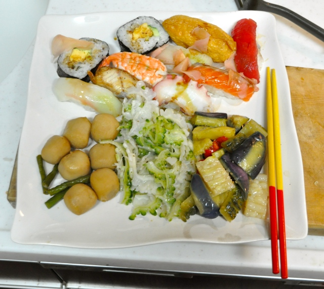 Sushi 550 yen, taro simmered in fish stock, goya and tuna,mixed veg, all 400 yen