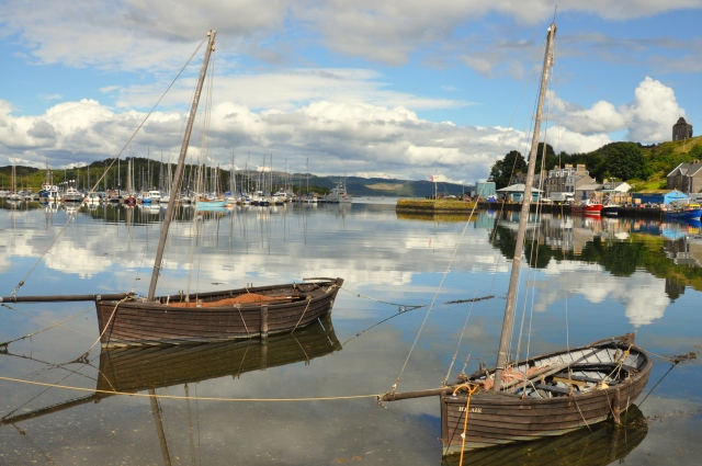 Old herring boats in Tarbert harbor