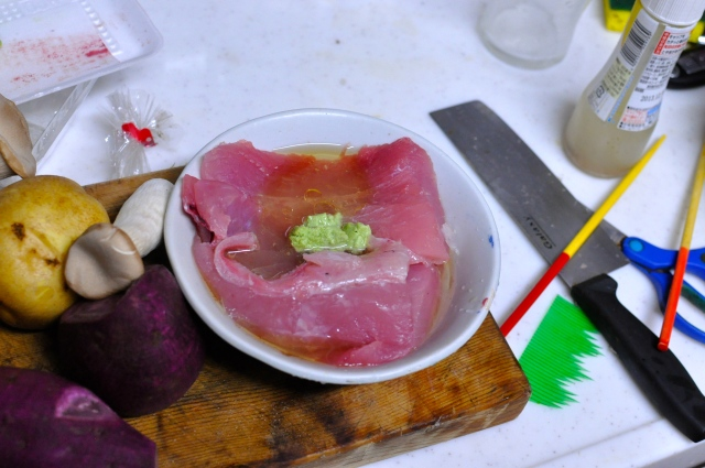 I marinate fresh tuna, which costs next to nothing incidentally, in lemon juice, olive oil and the green stuff that Japanese eat