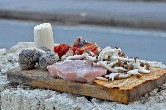 Tonight's feast - Pork, tarot,lotus root, mushrooms. There is also Hokkaido smoked Salmon as a starter.