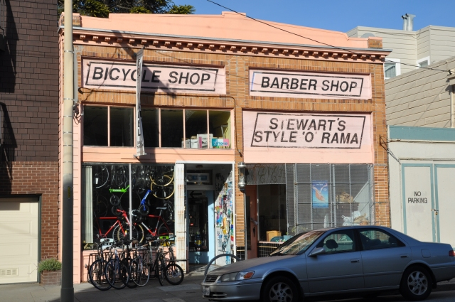 Bike shop and funky barber