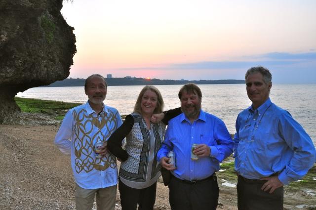 Drinks on the beach. Tsumoro, Susan, Ken, John