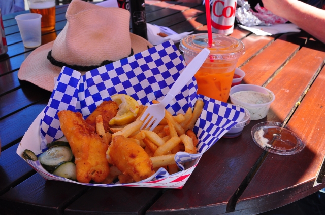 This was advertized as Icelandic Cod Tempura with Iced Tea. We would call t Fishand Chips in Scotland