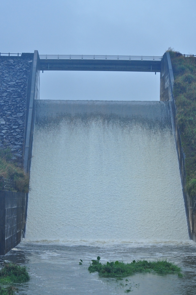 Nagahama Dam in spate