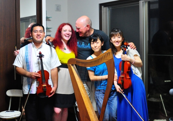 Harp, two fiddles, whistle , flute