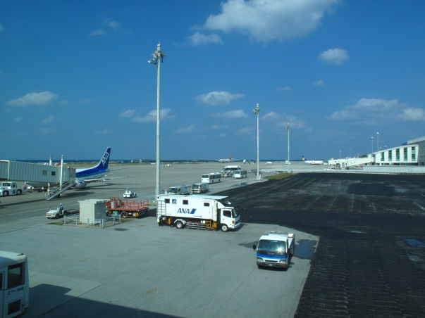 Blue skies over Naha airport. Hosanna.