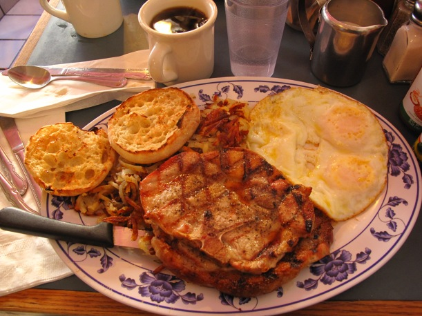 Two pork chops, eggs, hash browns, loads of coffee and iced water. Sets you up for the day.
