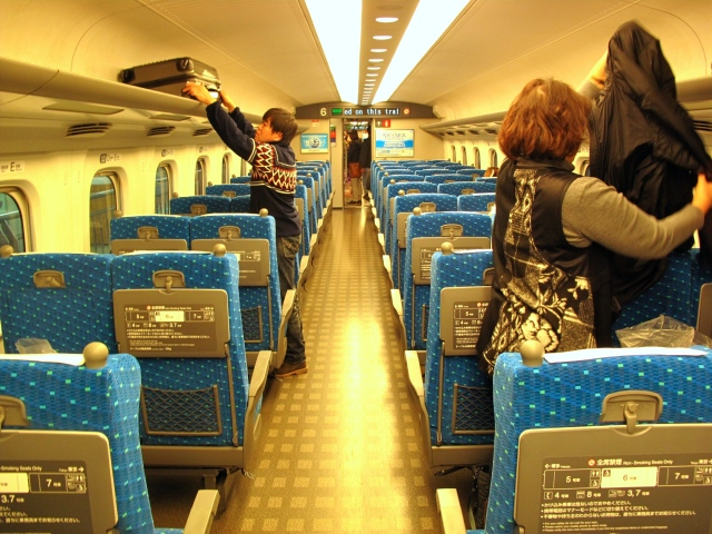 Inside Japanese high speed train.