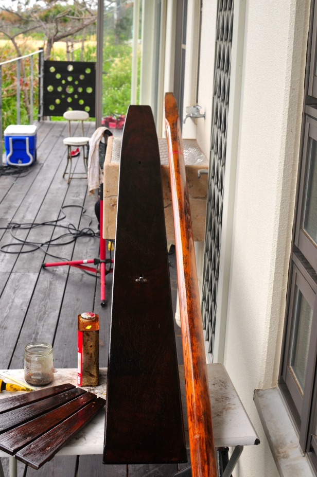 Mast and bit of wood that goes down  the middle get oiled and varnished