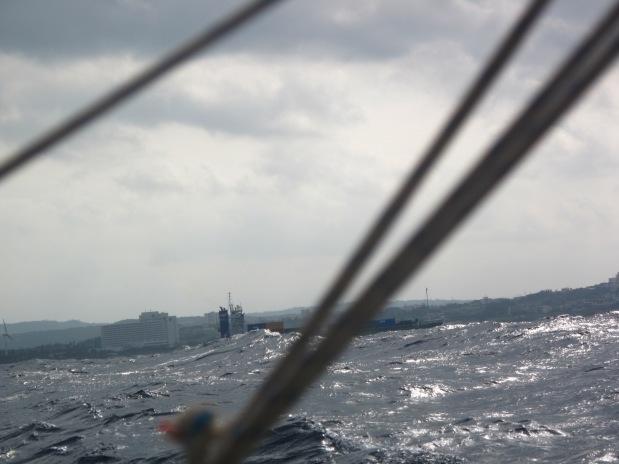 We overtake a steamer. Big sea.